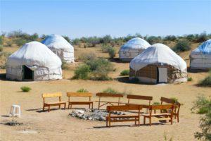 Yurtkamp bij Yangikazgan in Oezbekistan
