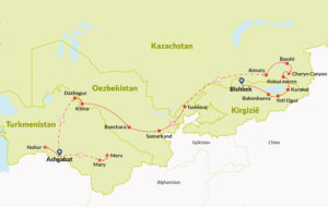Map of Central Asian tour route