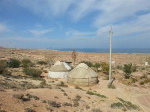 Yurts nearby Lake Issyk Kul, Kyrgyzstan