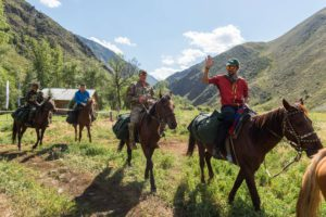 Horse riding in the Zhongar Mountains in Eastern Kazakhstan