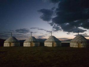 Son Kul yurt camp at night, Kyrgyzstan