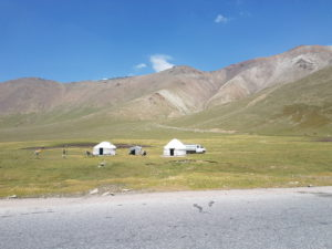 Yurts in the Suusamyr valley in Kyrgyzstan